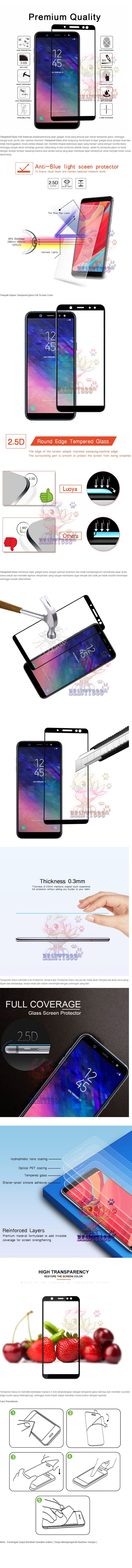 Beauty Tempered Glass Full Screen Black Samsung Galaxy A6 2018 9H Screen Anti Gores Kaca Screen Guard Temper Samsung Galaxy A6 2018 Pelindung Layar