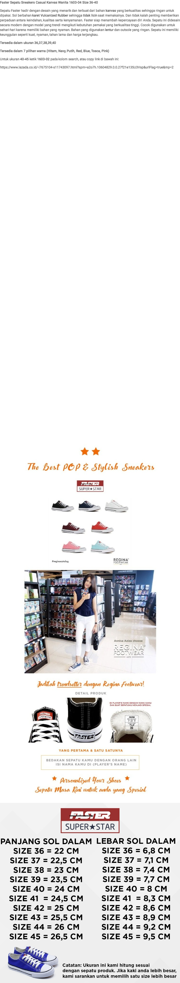 Faster Sepatu Sneakers Kanvas Wanita 1603-04 - Putih Size 36-40 | Lazada