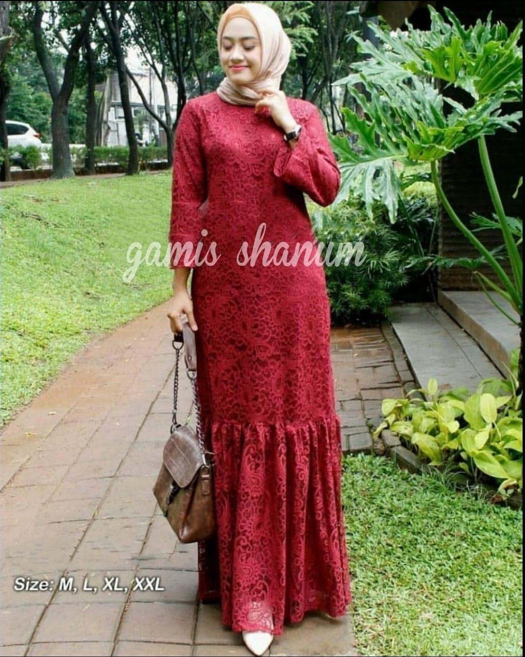 jeduastore Shanum Brokat Dress Baju Gamis Wanita Terbaru