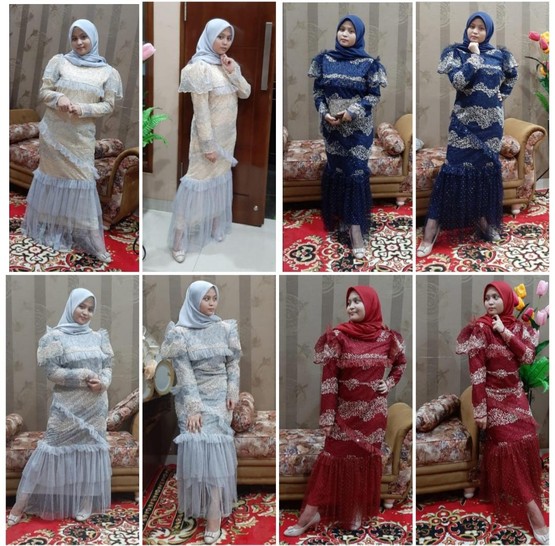 Baju Gamis Bulu Perindu Kombinasi Tule Springkel/baju muslim/baju  pesta/model gamis