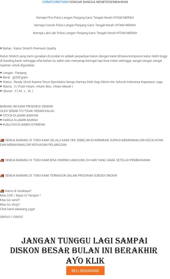 CORATCORETUDIO - Kemeja Pria Hem Cowok Polos Lengan Panjang Garis Tengah Kerah HITAM MERAH / 3 Ukuran M L XL / Kecil Kurus Besar Gemuk Gendut Jumbo / Kemeja ...