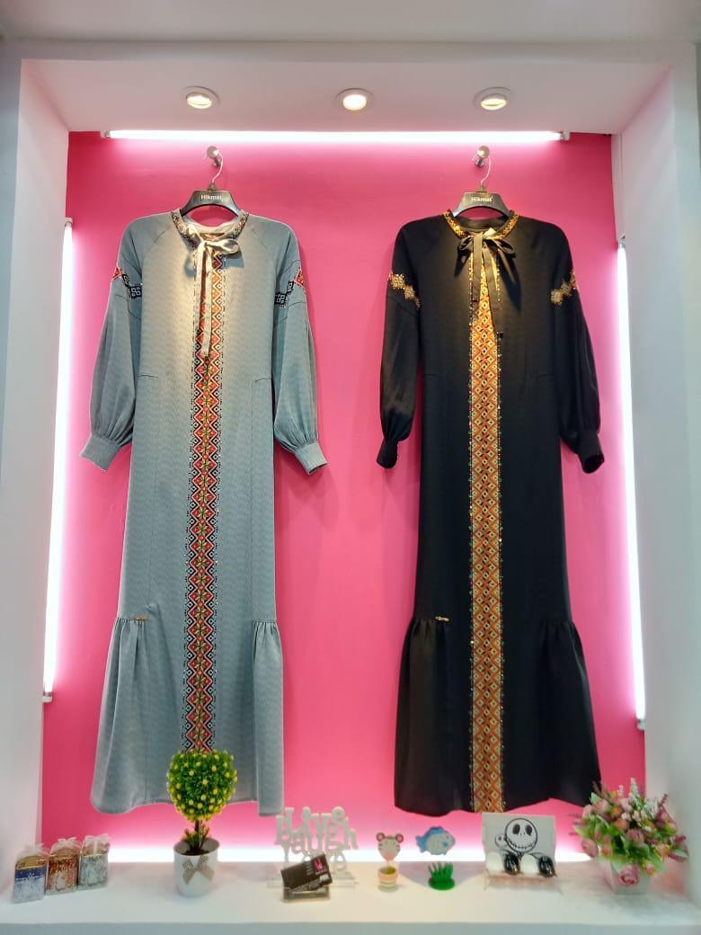 Hikmat Fashion Abaya A7722 Black Gamis Pesta Baju Muslim Terbaru Lazada Indonesia