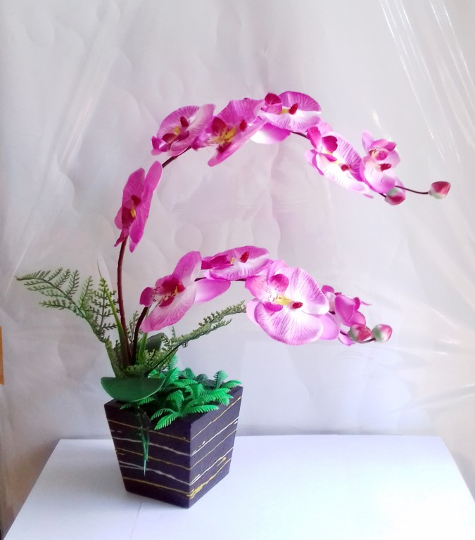 Gl Bunga Anggrek Mekar Hiasan Ruang Tamu Kantor Bunga Palsu Bunga Pajangan Lazada Indonesia