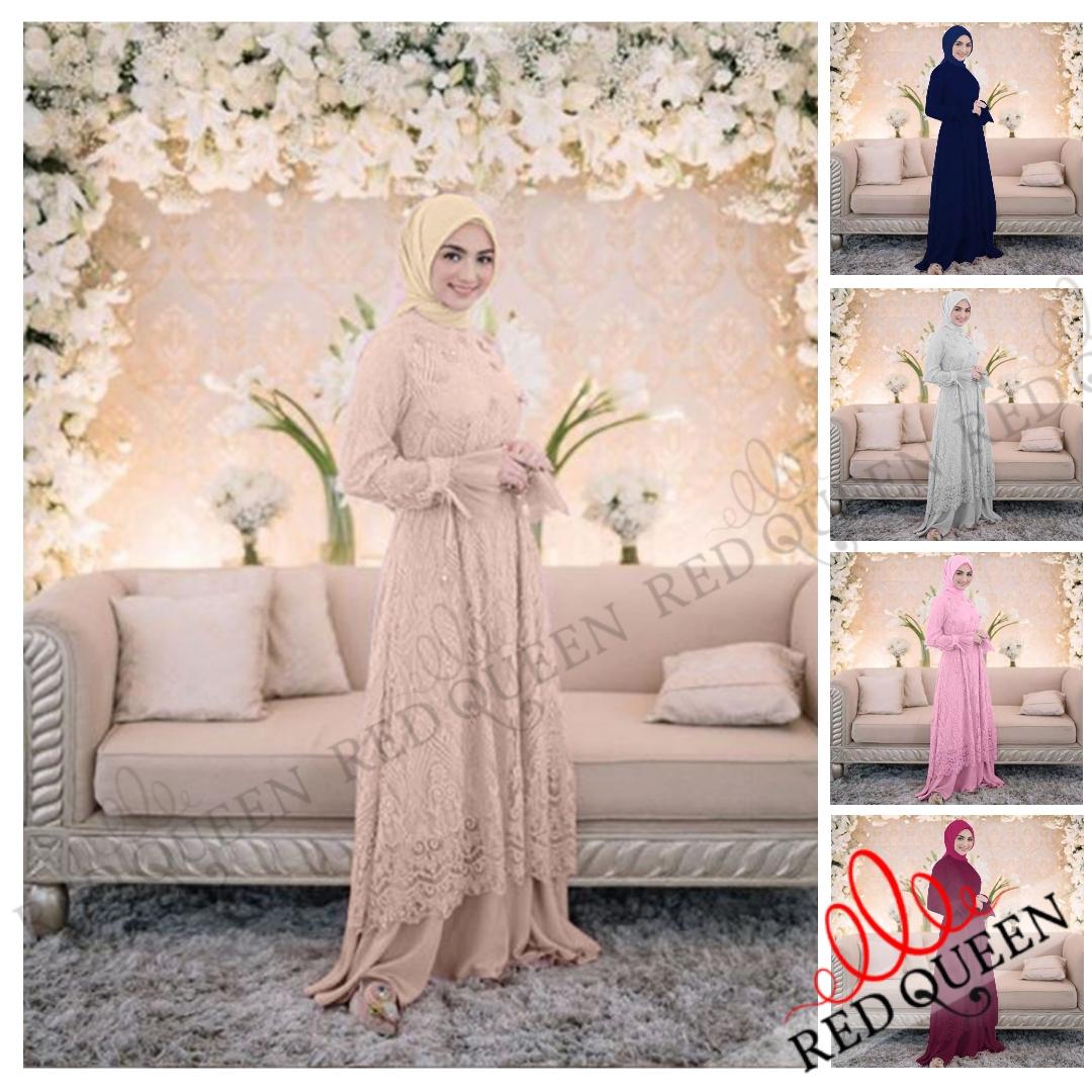 Baju Muslimah Gamis Brokat Bagus Elegan Cantik Tille Mutiara Furing Satin  Modern Terbaru  RED QUEEN BUTIK RQ8