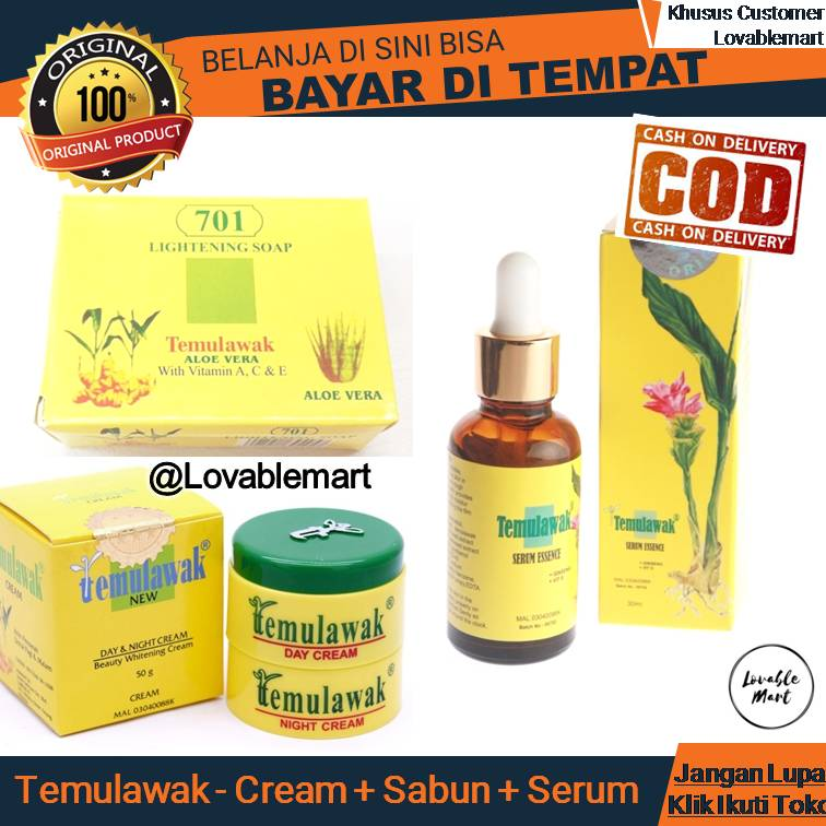 Detail produk dari Temulawak Paket Day Night Cream Facial Soap plus Serum Essence Original Malaysia -