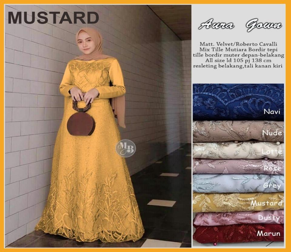 Termurah!!! dan COD Jago Store Aura Gown gamis brokat tile mewah model  gamis tile mutiara gamis kombinasi tile mutiara gamis brokat tile pesta  gamis