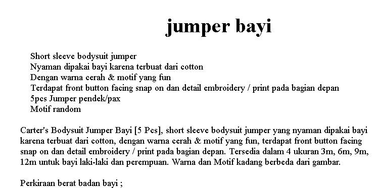 baju bayi jumper jamper carters lengan pendek 1 pack isi 5 pcs jumper motif cewe/