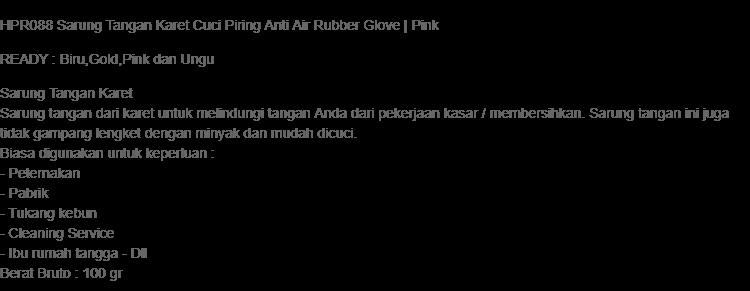HPR088 Sarung Tangan Karet Cuci Piring Anti Air Rubber Glove   Pink