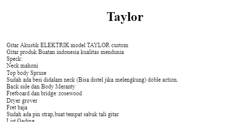 Gitar Akustik Elektrik Taylor Natural Equalizer 7545r