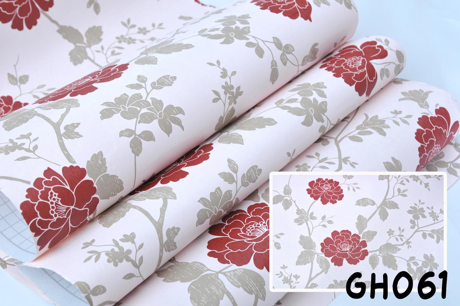 Wallpaper Stiker Dinding Motif Dan Karakter Premium Quality Size 45cm X 10M Bunga Mawar Merah GH061