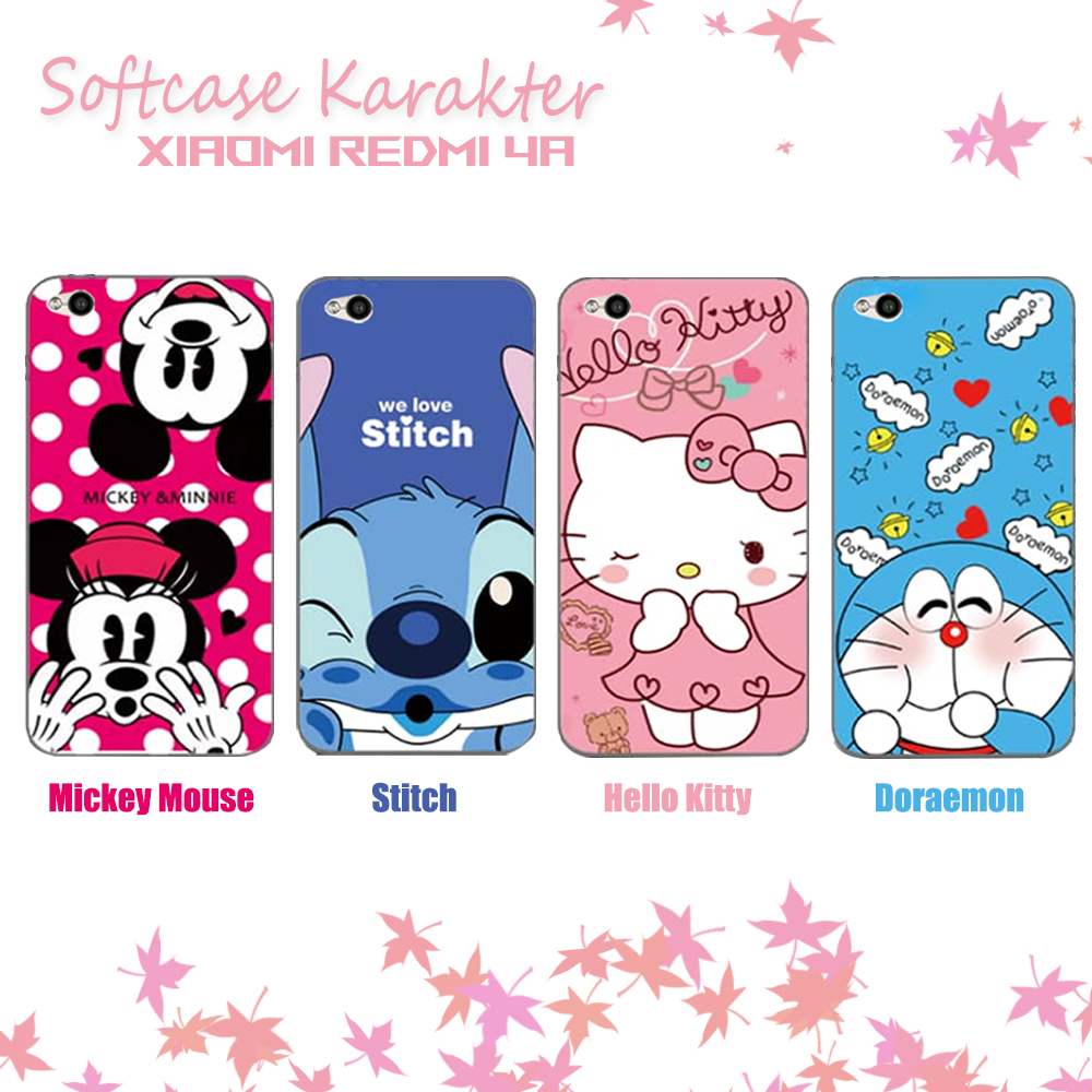 3923ece70 Spesifikasi dari 3D Case Xiaomi Redmi 4A Softcase Karakter Hello Kitty  Doraemon Stitch Mickey Mouse Character Disney Cartoon