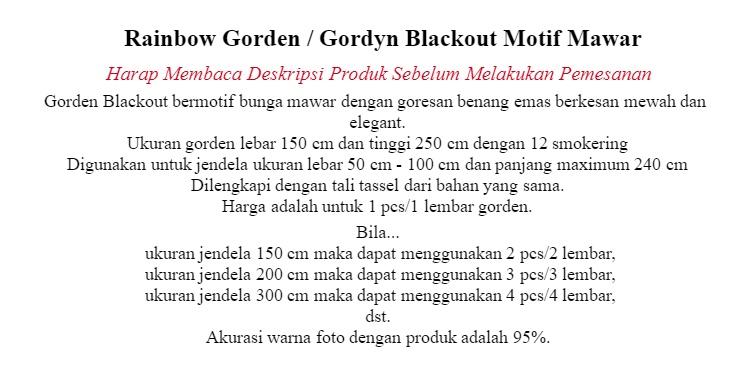 Harga Rainbow Gorden Gordyn Blackout Motif Mawar Merah Kuning Gold Hijau Biru Harga Rp 209.000