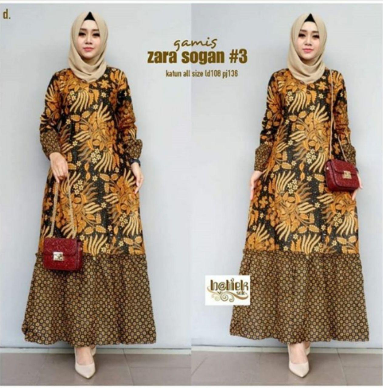 Gamis Batik Kombinasi Remaja Model Terkini 12