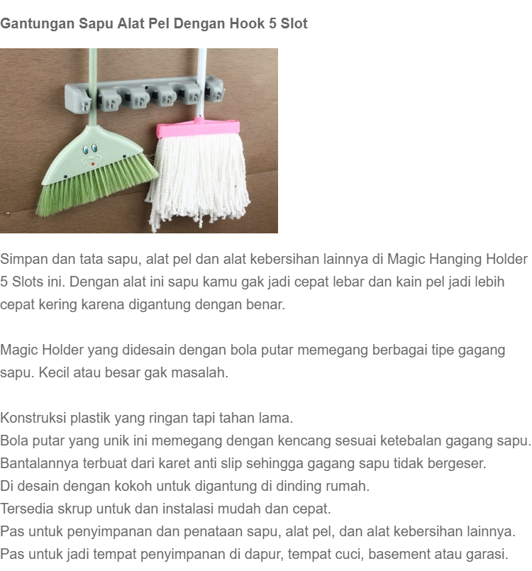 Laz COD - Gantungan Sapu Alat Pel Dengan Hook 5 Slot Magic Mop Holder / Abu