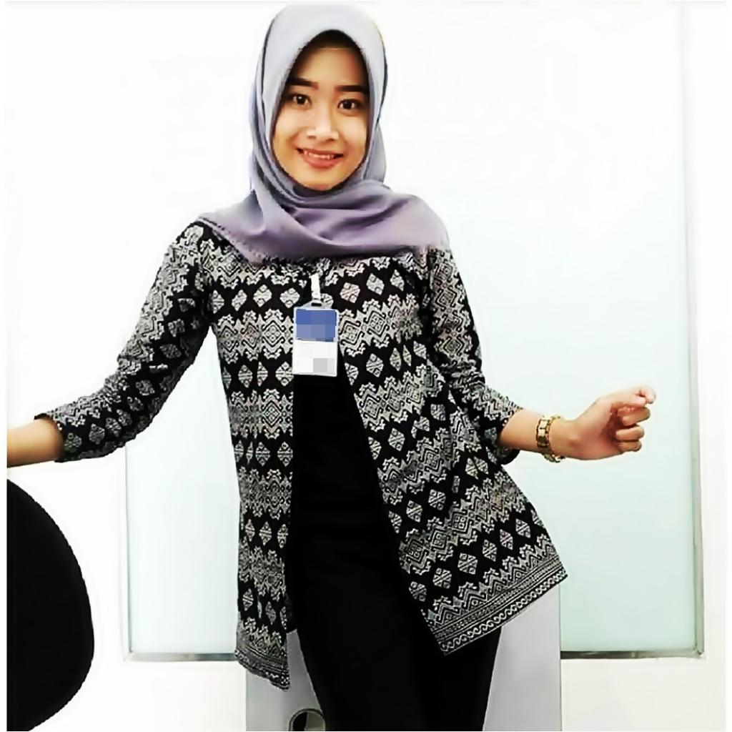 Baju Atasan Wanita Blazer Batik Monochrome Seragam Batik Blus Blouse Blazer Baju Wanita Seragam Kerja Baju Kantor Baju Batik Batik