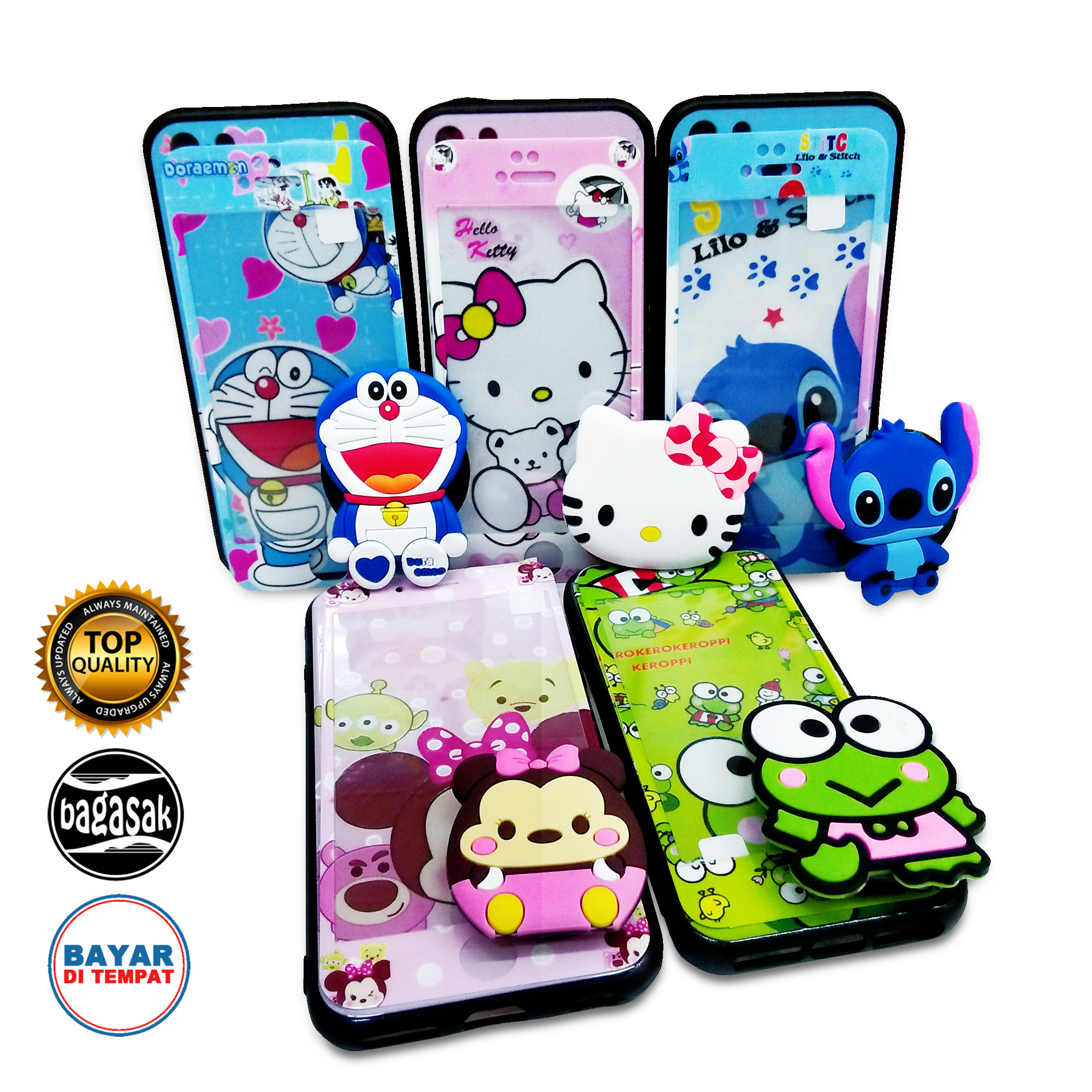 Case Case Karakter Kartun Lucu Temperes Glass Popsocket For Xiaomi Redmi 6A B