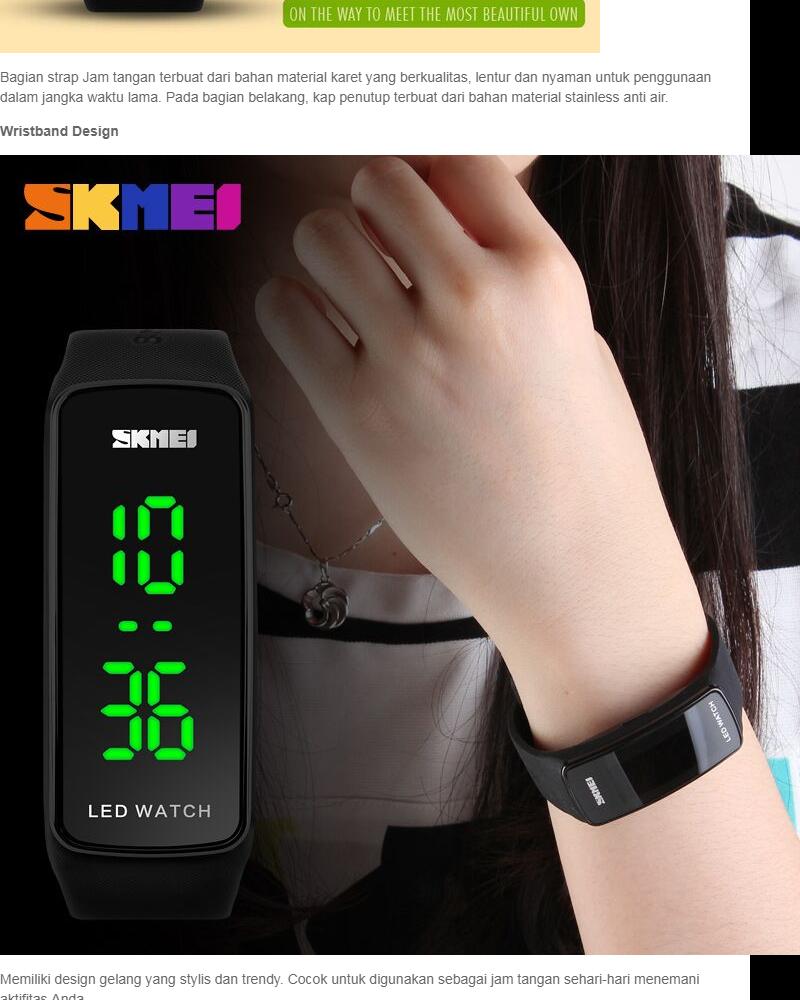 SKMEI Sport Rubber LED Watch Water Resistant Anti Air WR 50m Jam Tangan Olahraga Gym Lari