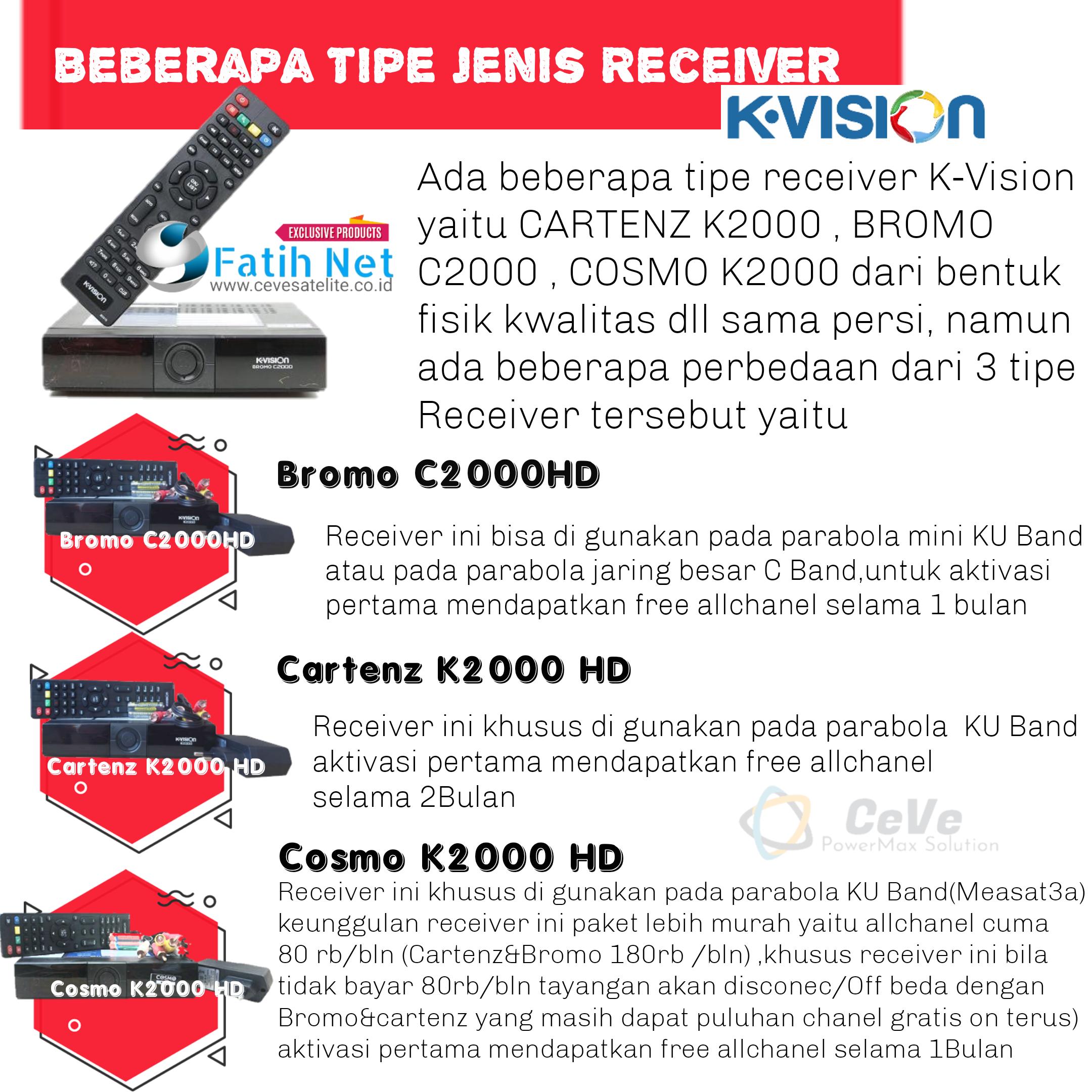 paket komplit k vision pilih varian receiver bromo c2000 hd atau cartenz k2000 hd atau cosmo k2000 hd parabola 45cm receiver kvision k vision k