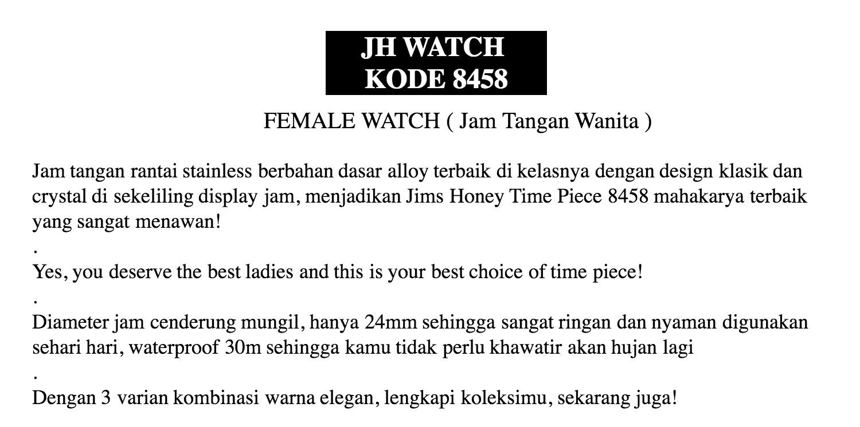 Feia Jam Tangan Wanita Jims Honey Timepiece 8422 Daftar Harga Rhythm Global I1204r04 Putih Jh Watch Kode 8458 Import Original Water Ressistant