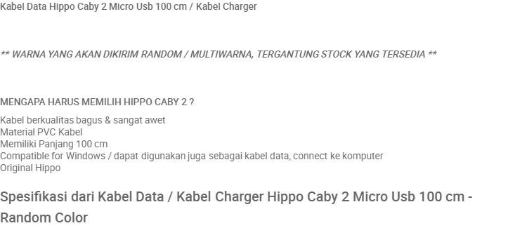 Kabel Data / Kabel Charger Hippo Caby 2 USB Type C 100 cm for Xiaomi Samsung