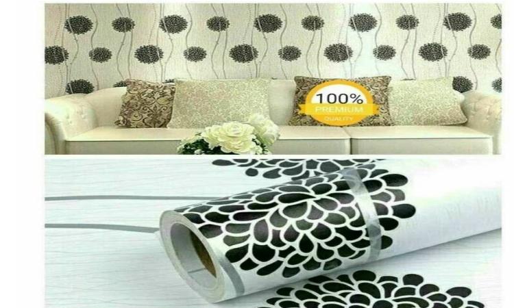 Wallpaper Stiker Dinding Motif Dan Karakter Premium Quality Size 45cm X 10M Bunga Dandelion Hitam