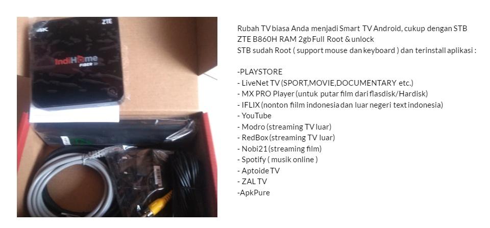 Android TV Box ZTE B860H Ram 2GB Full Root dan Unlock