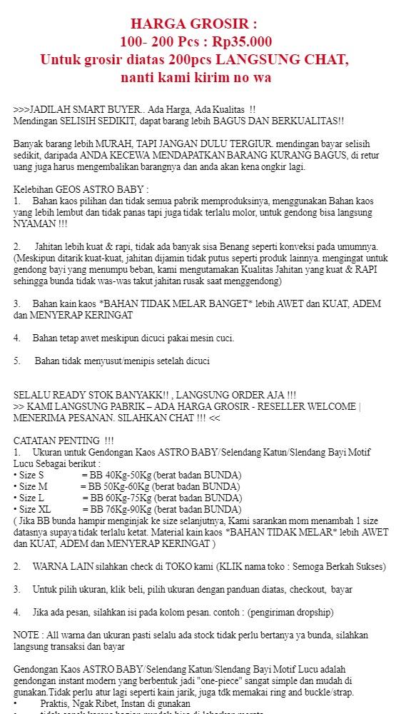"""ASTRO BABY - GEOS SAKU - Gendongan Bayi Kaos Gendongan Anak Gendongan Baby - WARNA BROWN UKURAN M Kualitas PREMIUM – """"Langsung Pabrik Reseller Welcome"""" ..."""