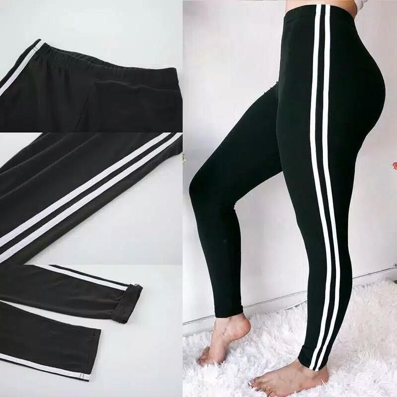 Celana Training Sport Legging Hitam Dengan 2 Garis List Stripe Putih Lazada Indonesia