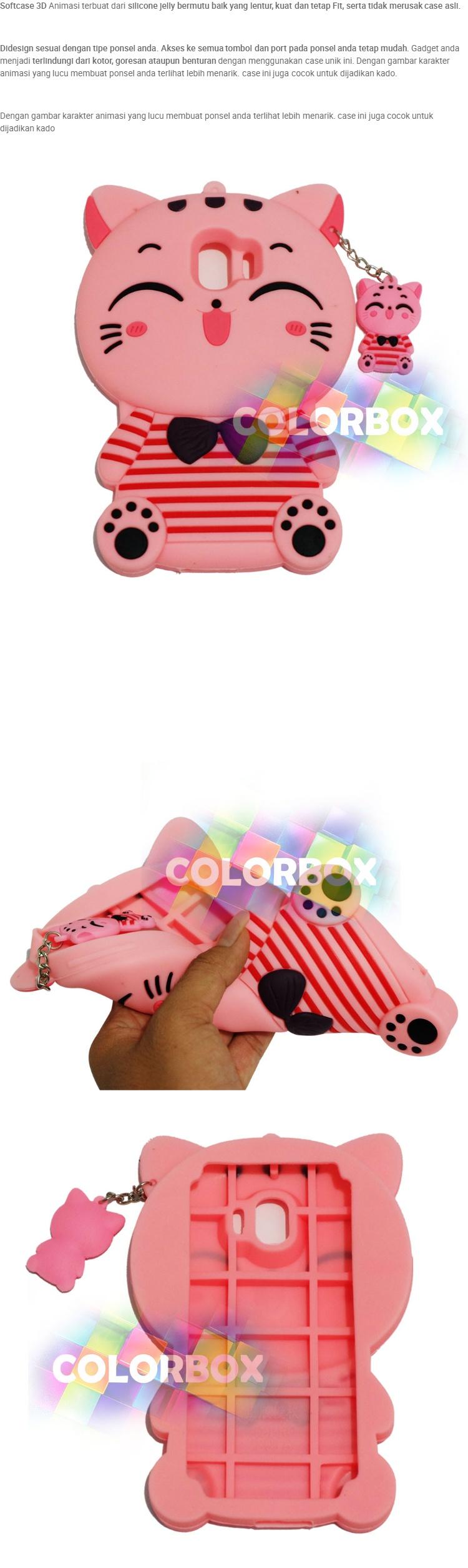 MR Soft Case 3D Samsung Galaxy J2 Pro 2018 Pink Cat Red Horizontal Line / Silikon