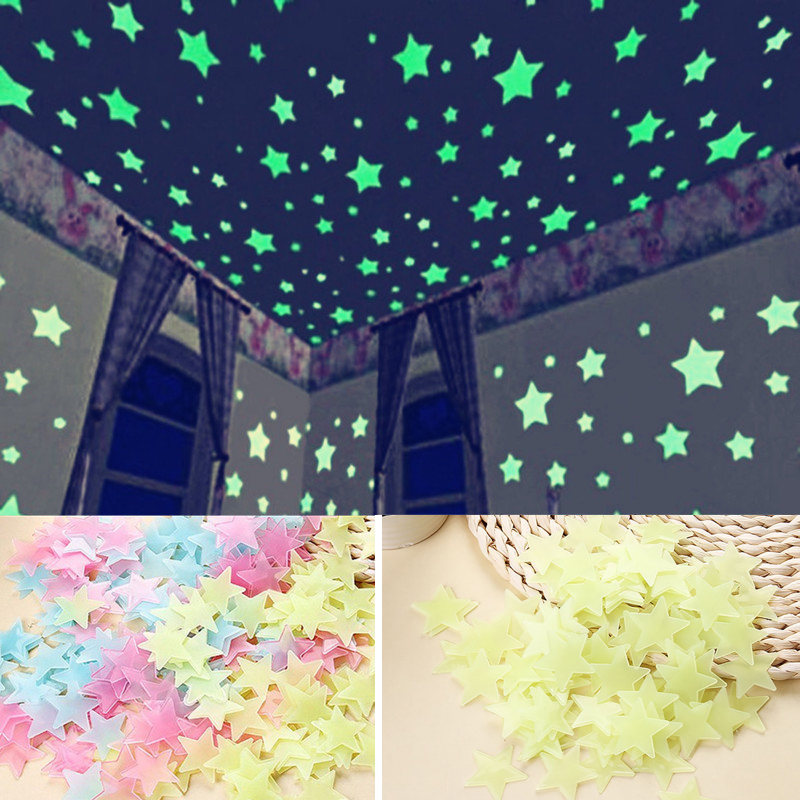 Sticker Bintang Glow In The Dark Stars warna warni Stiker Dinding Wall  Sticker isi 100pcs