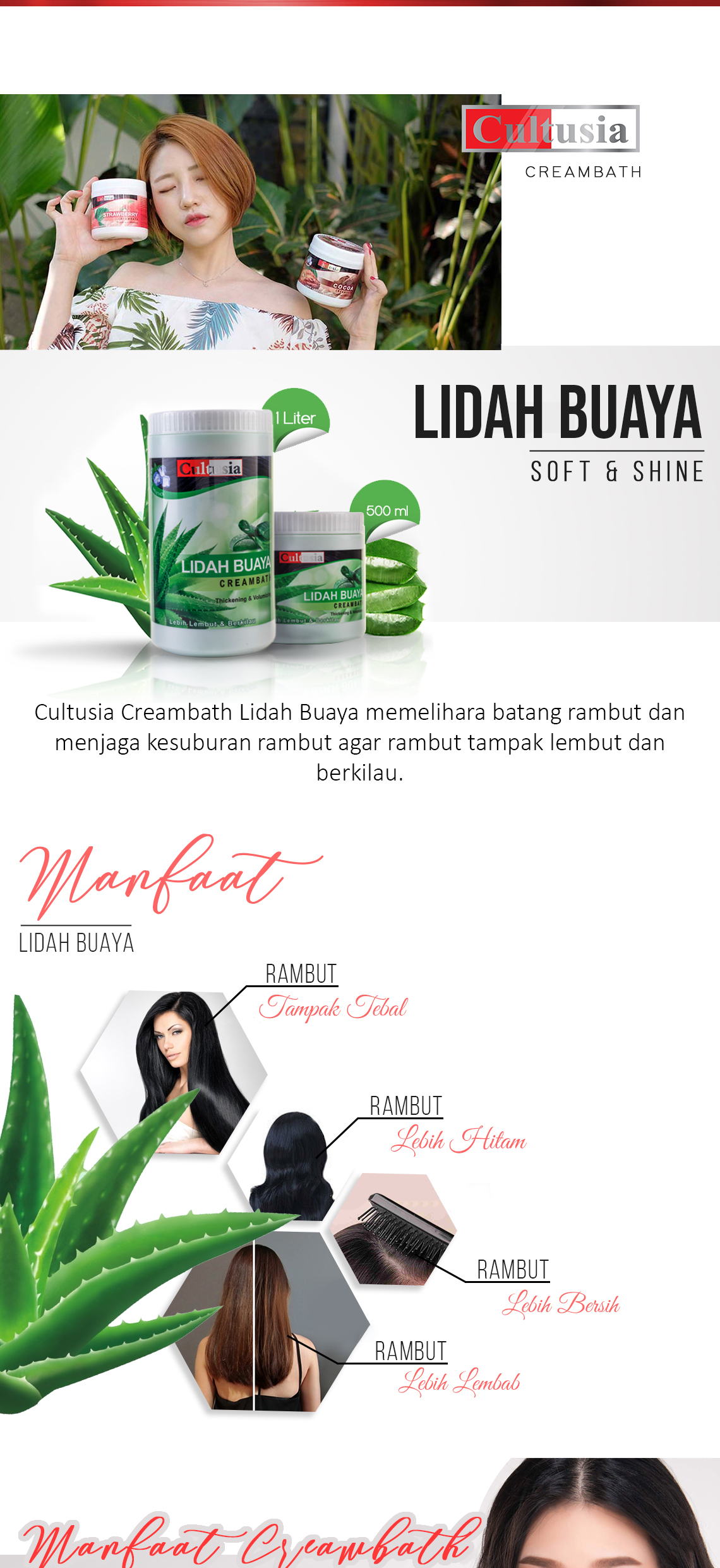 Cultusia Creambath Lidah Buaya 500ml 1000ml Lazada Indonesia