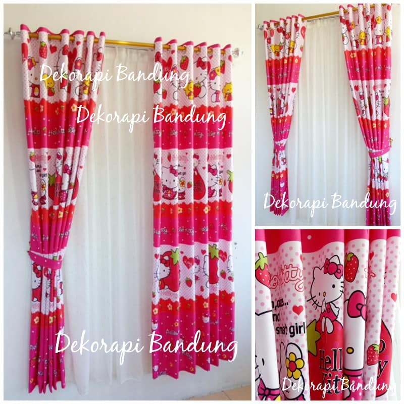 Gorden Tirai Gorden Dekorasi Kamar Anak Motif Hello Kitty Pink Strawberry Lazada Indonesia