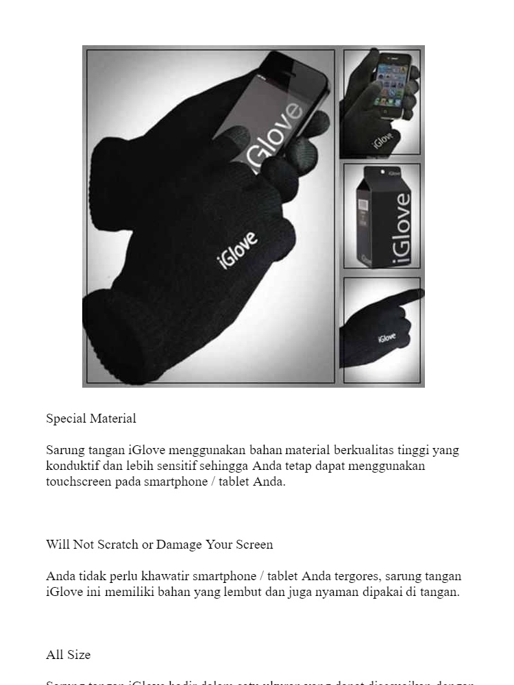 iGlove Sarung Tangan Touch Screen Untuk Smartphones Tablet iPhone Hp Handphone Android Touchscreen Gloves All Size