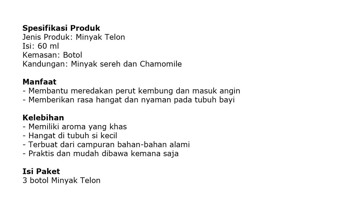 My Baby Minyak Telon Plus Longer Protection 60 Ml Daftar Harga Paket Hemat 60ml 3pcs Mtk040 150 3 Pcs Source Details