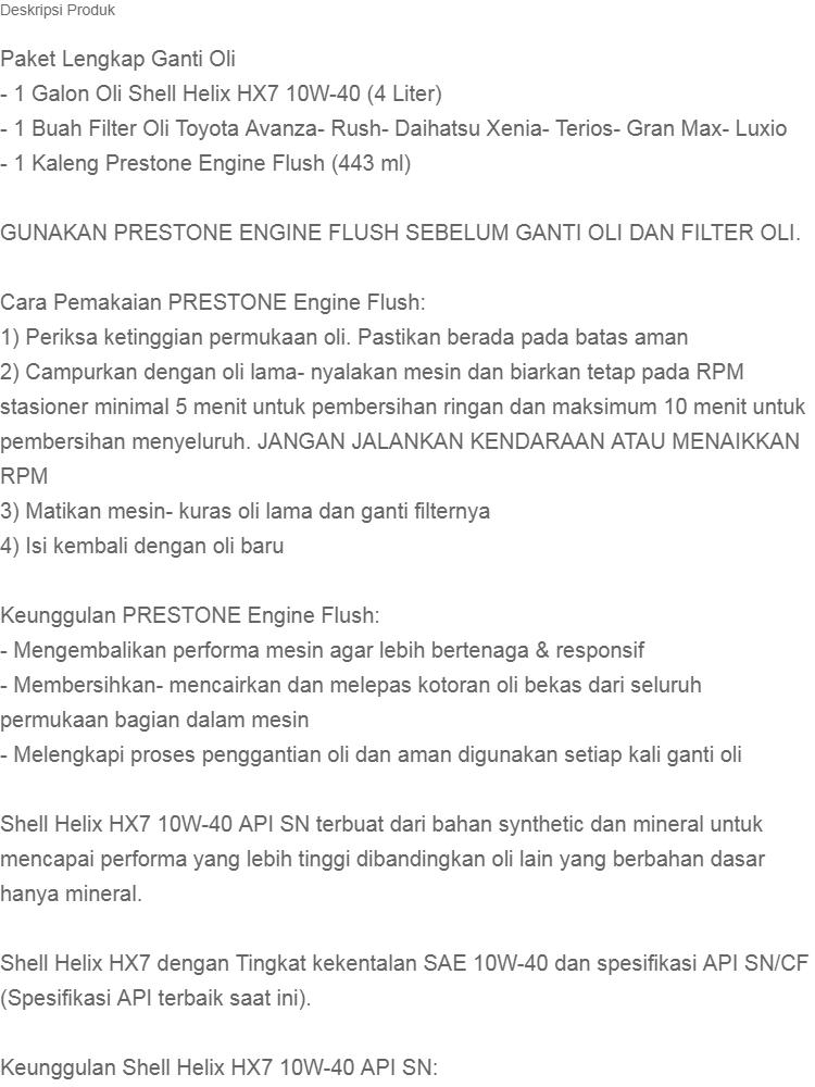 Paket Ganti Oli Shell Helix HX7 10W 40 API SN 4 LITER Filter Prestone Engine Flush DAIHATSU GRAN MAX LUXIO ORIGINAL