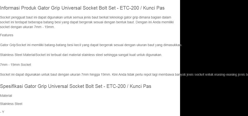 Rimas COD Gator Grip Universal Socket Bolt Set - ETC-200 / Kunci Pas -