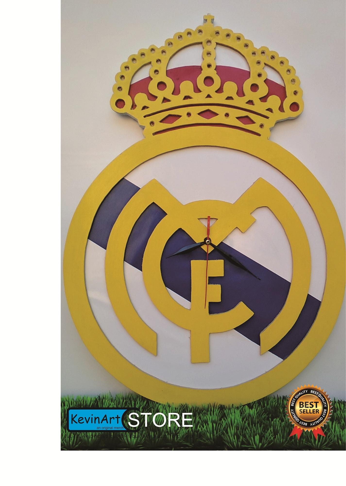 JAM DINDING KAYU UNIK MERCHANDISE CLUB BOLA REAL MADRID BESAR KAYU 3D VINTAGE CUSTOM ARTISTIK