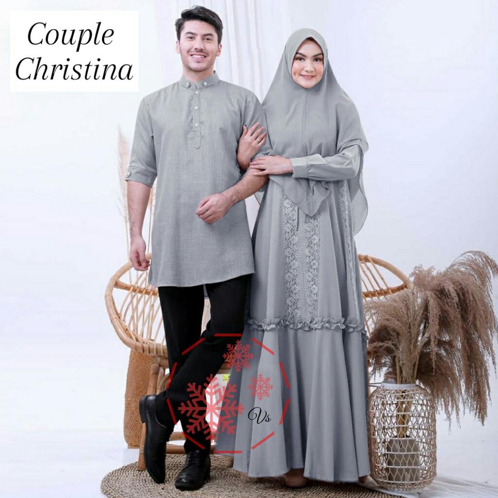 MGT - kemeja Couple Gamis CHRISTINA mat wolfis komby brokat / Baju Couple  Muslimah Baju Pasangan Muslimah Baju Pasangan pesta Baju Couple Fashion