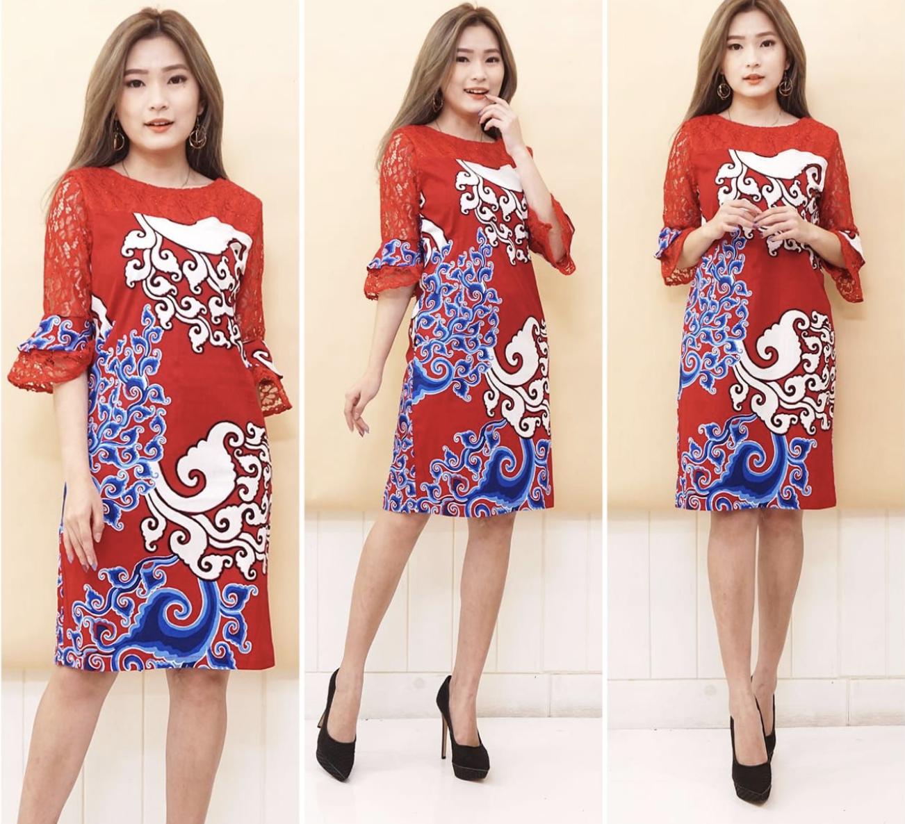 SBI - Dress BATIK Kombinasi LENGAN BRUKAT