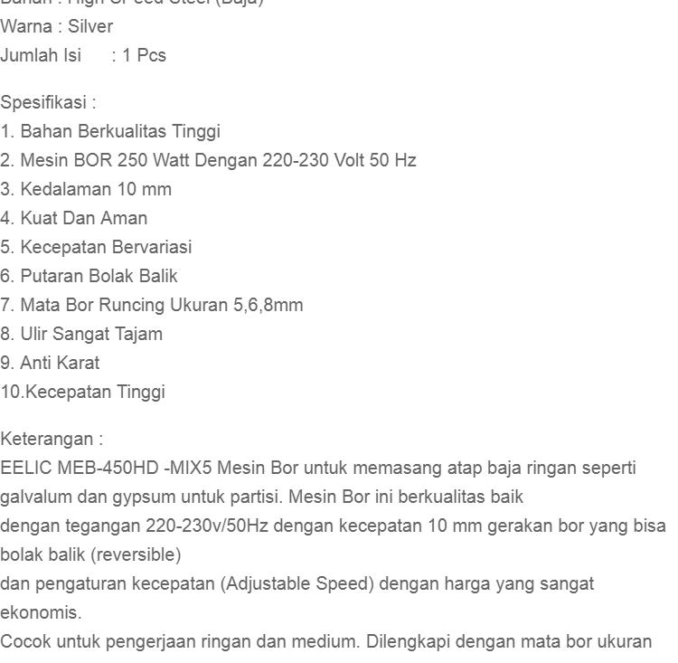 high speed steel 1box isi 5pc. Cek barang · Mata Bor Besi . Source ·. Source · Besi 1 Pack 10pcs Ukuran 1mm ... - Daftar Harga Mata .