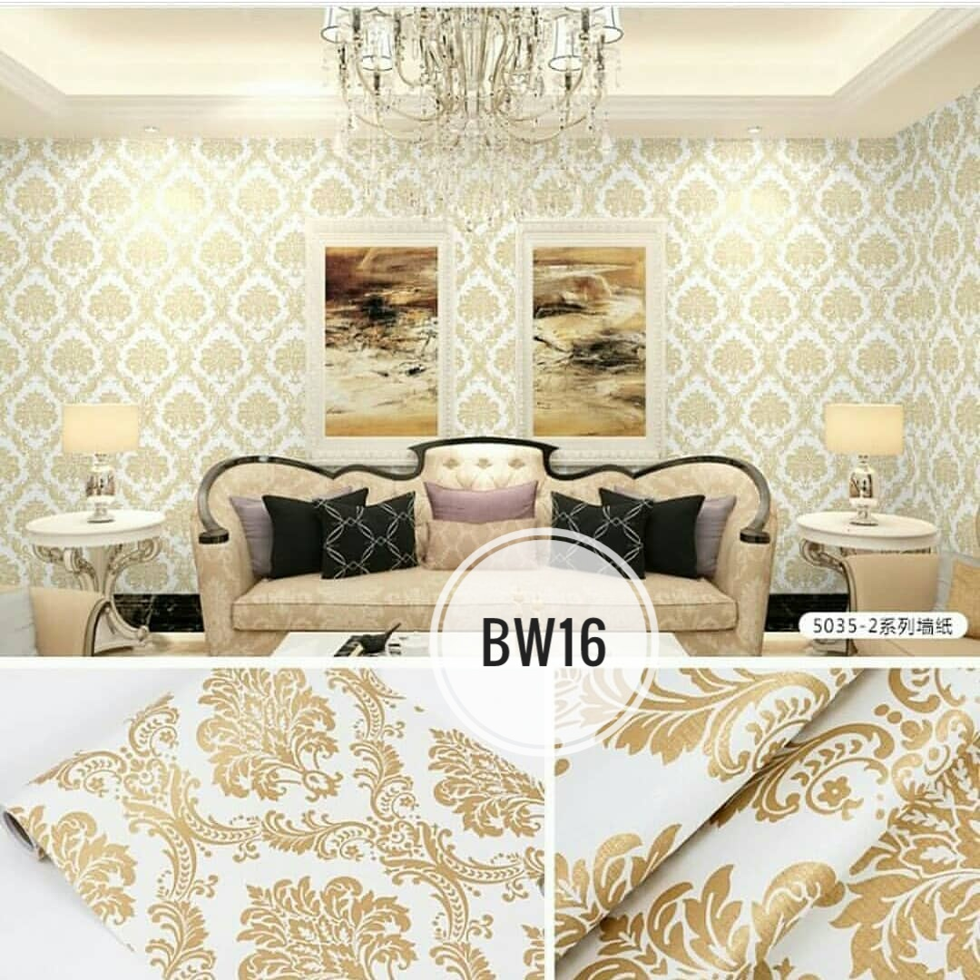 JUAL WALLPAPER STICKER WALLPAPER DINDING KAMAR 5 METER BW16 BATIK GOLD EMAS ELEGAN TERMURAH TERLARIS BEST SELLER