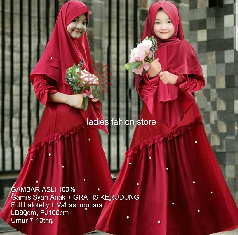 Pakaian Gamis Anak Perempuan Bahan Adem GRATIS KERUDUNG PANJANG / Gamis  Lebaran Variasi Mote Mutiara /Baju Anak/ Baju Muslim Anak Cewek/ Baju Gamis