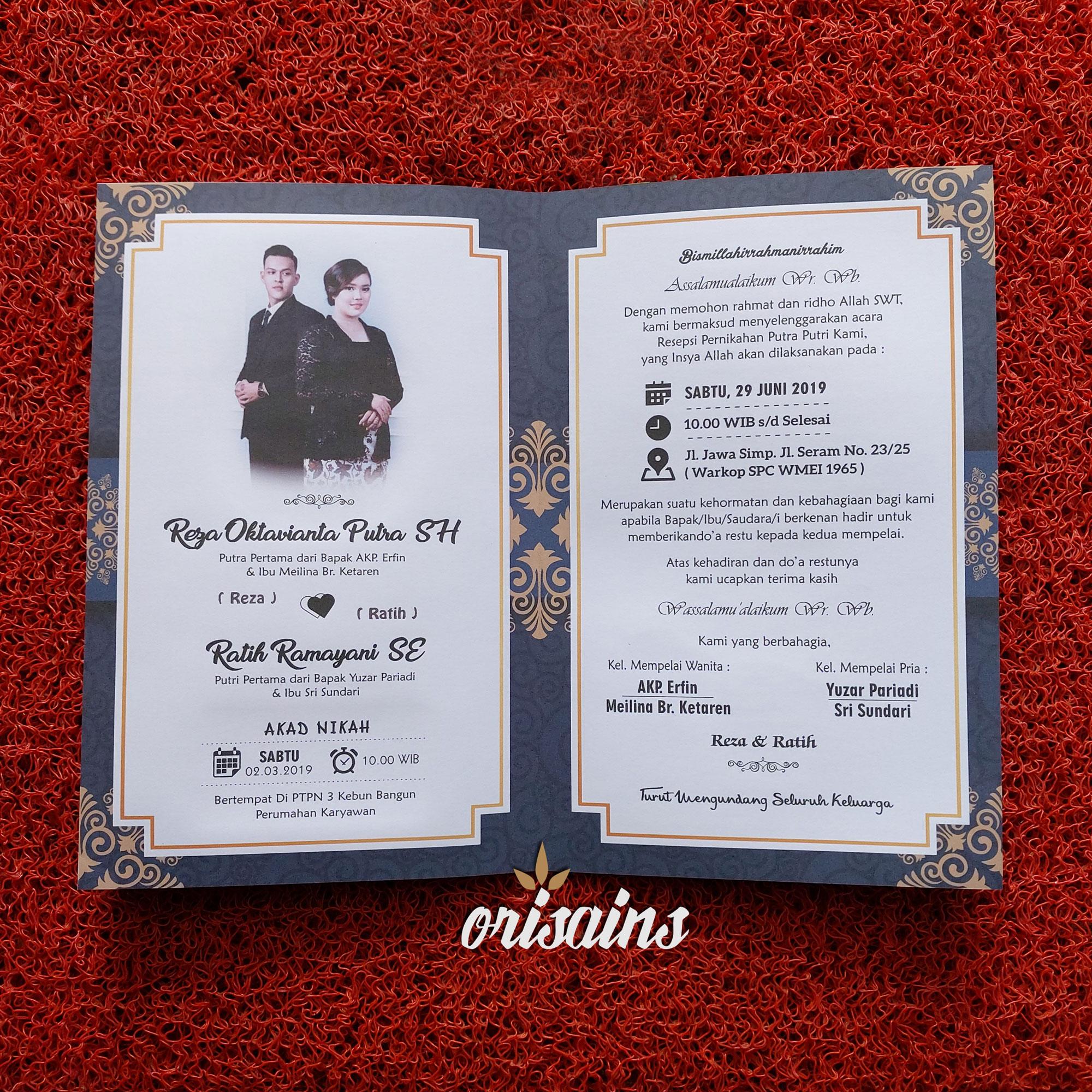 [100 LEMBAR] Undangan Pernikahan Murah Hitam Elegan Bisa Pakai Foto Prewedding Dijamin Murah Kualitas Bagus