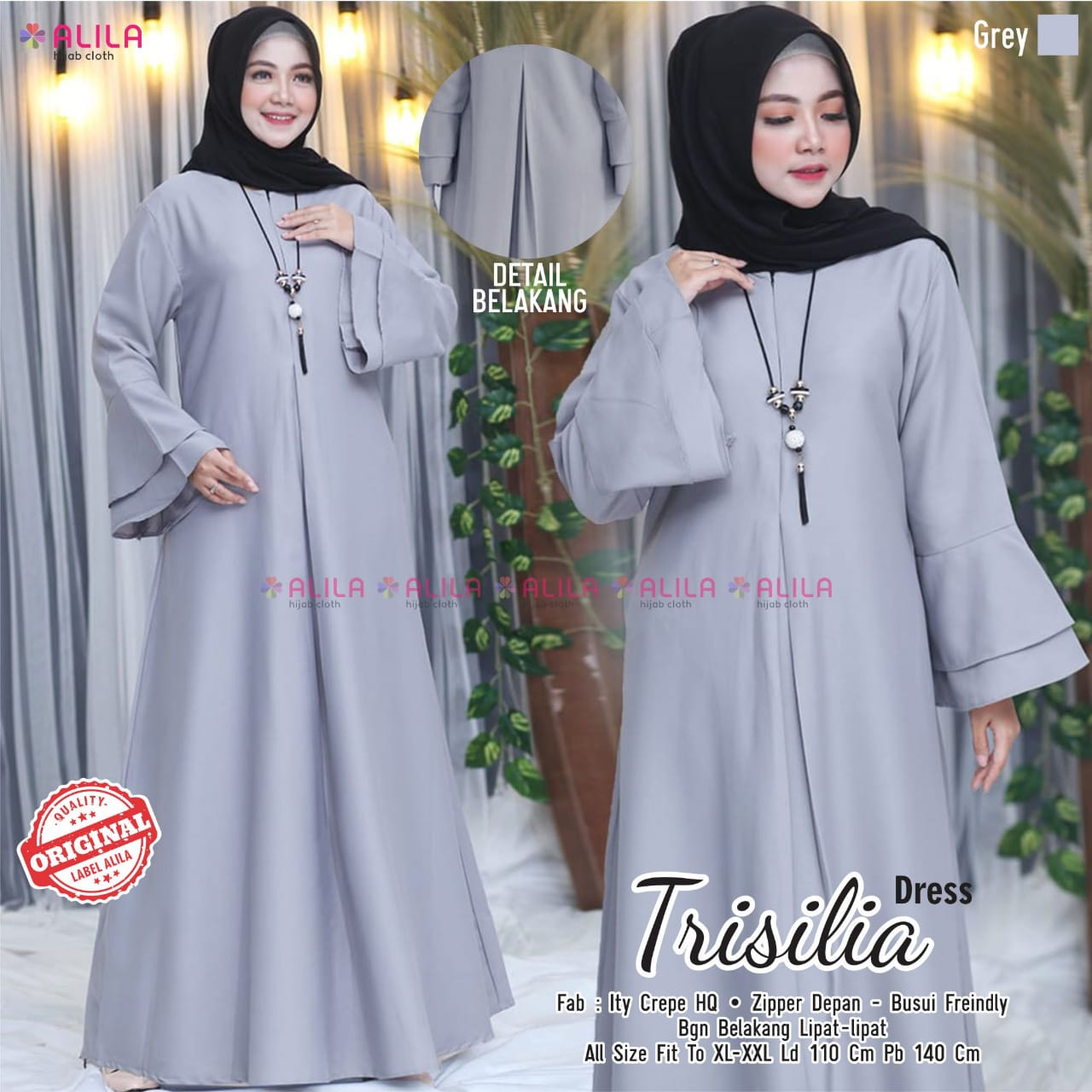 Trisilia Dress Ity Crepe HQ  Baju muslim syari terbaru 10 toko baju  muslim di solomodel long dress untuk orang gemuk model kebaya dress  panjang