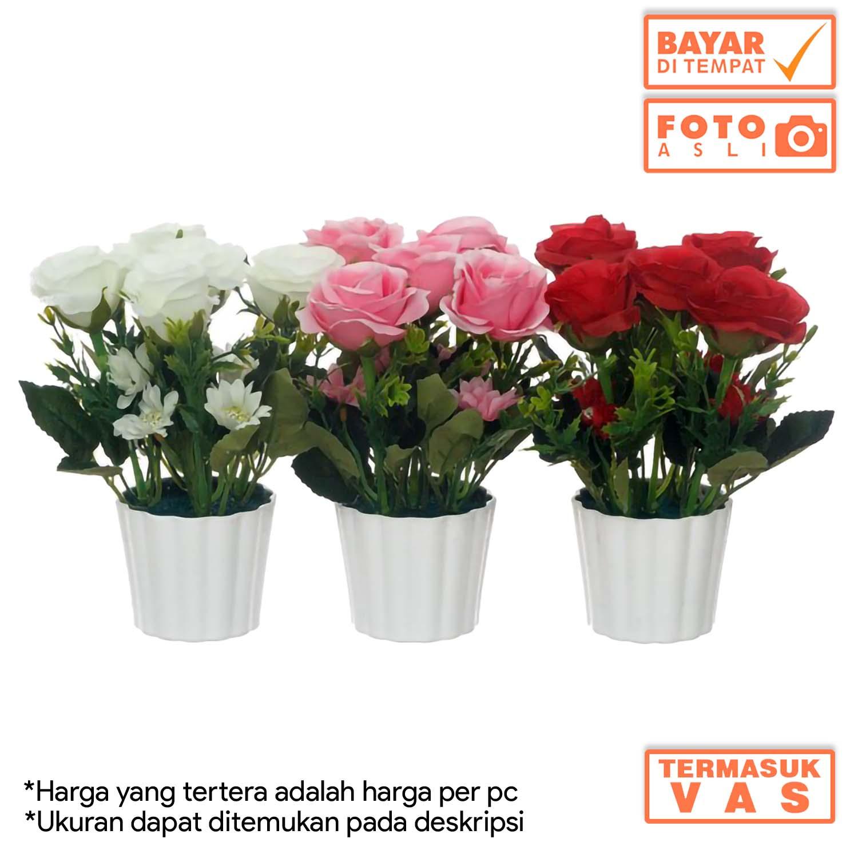 Dekorasi Rumah Buket Bunga Mawar Artificial Plastik Vas Melamin