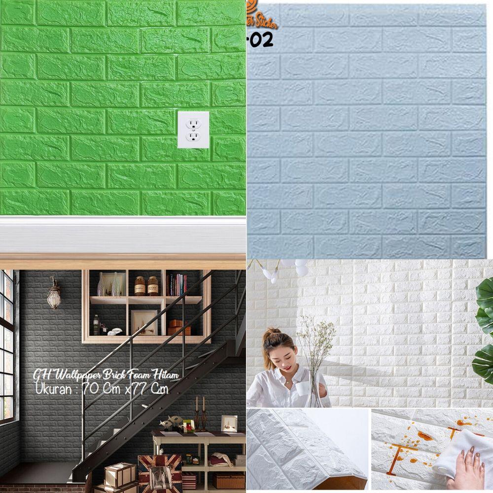 Wallpaper Dinding Foam 3D Batu Bata Putih Size 70 X 77 CM Glossy
