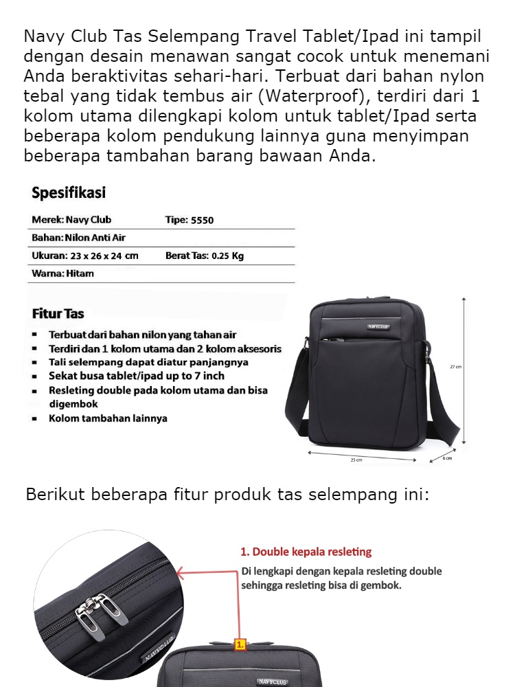 Navy Club Tas Selempang Travel Tablet IPad Tahan Air EEEJ - Tas Pria Tas Wanita | Lazada Indonesia