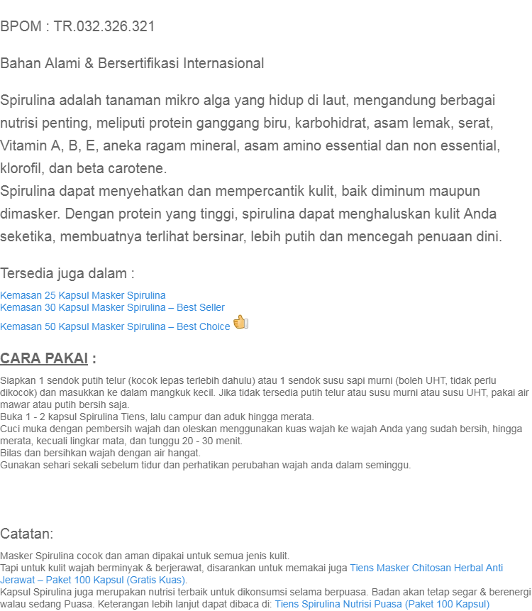 Tiens Herbal-- Masker Spirulina / Masker Wajah / Anti Jerawat / Pemutih Wajah /