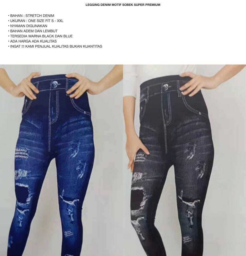 Legging Denim Tebal Motif Sobek Import Lejing Jeans Super Premium Fit S Xxl Lazada Indonesia