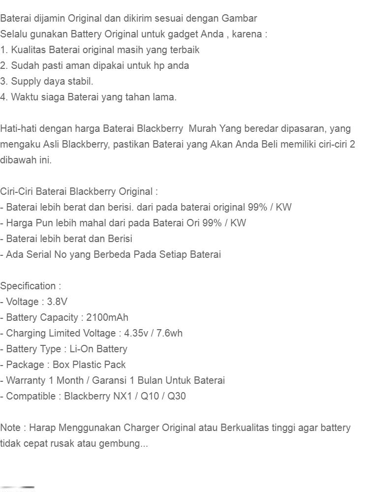 Blackberry Baterai / Battery NX1 For Blackberry Q10 / Q30 / Passport Original - Kapasitas 2100mAh
